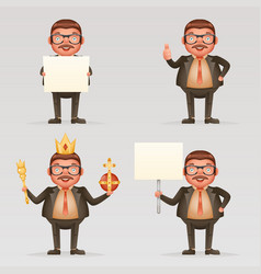 Cute successful businessman cheerful king crown on vector
