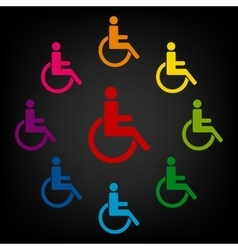 Disabled icon set vector