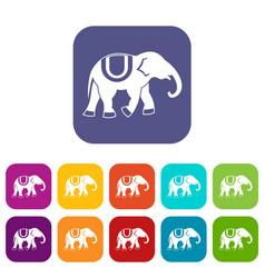 Elephant icons set vector
