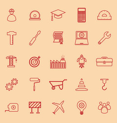 engineering line color icons on orange background vector image