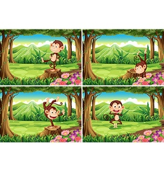 Four scenes of monkeys in the park vector image vector image