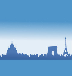 france city skyline with eiffel tower scenery vector image