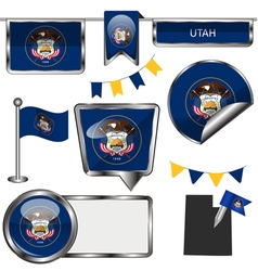 Glossy icons with Utahn flag vector image vector image