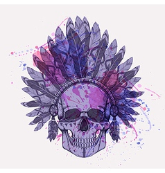 grunge of human skull in native american ind vector image vector image