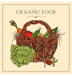 Harvest basket pictogram vintage poster vector