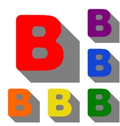 letter b sign design template element set of red vector image