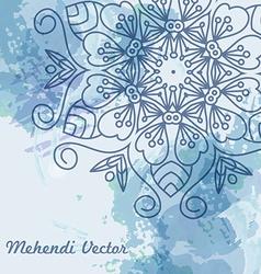 Mandala watercolor blue background vector