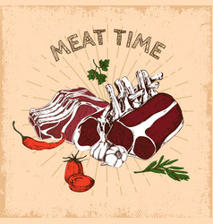 Meat time hand drawn design vector