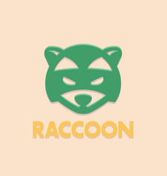 raccoon logo element head of coon vector image vector image