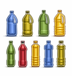 Set colored big plastic bottles vector