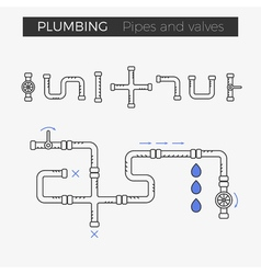 thin line icons of pipes and valves vector image vector image
