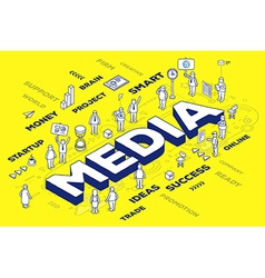 Three dimensional word media with people vector