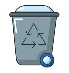 trash bin icon cartoon style vector image vector image