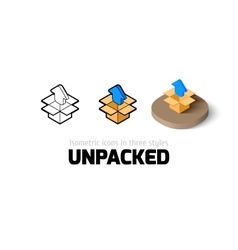 Unpacked icon in different style vector