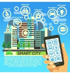 Smart city flat concept with internet thing vector