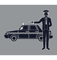 Silhouette cab car driver working service public vector