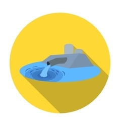 Water treatment plant icon in flat style isolated vector