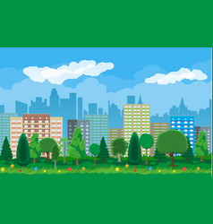 modern city view cityscape and park vector image