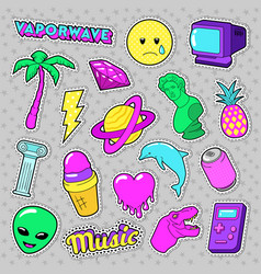 Vaporwave fashion funky elements with heart vector
