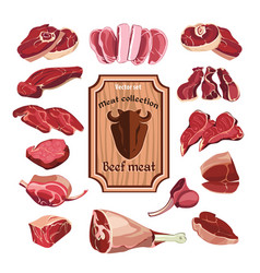 Hand drawn meat elements set vector
