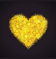 Golden glitter heart vector