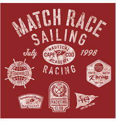 Sailing match racing vector