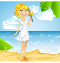 Girl in a white dress with sunglasses on beach vector image