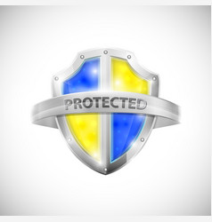 Protection icon with glossy shield vector