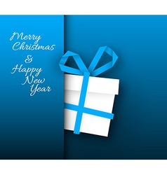 Simple blue card with christmas gift made from vector