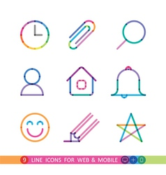 Set from 9 flat icons for web and mobile vector
