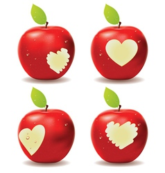 Red apple bite vector