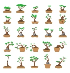 25 cartoon bonsai trees set vector