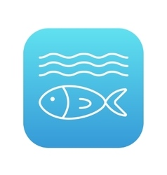 Fish under water line icon vector