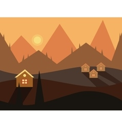 Seamless cartoon nature evening landscape vector