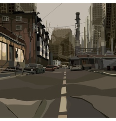 Cartoon street of the ruined city vector