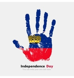 Handprint with the flag of liechtenstein in grunge vector