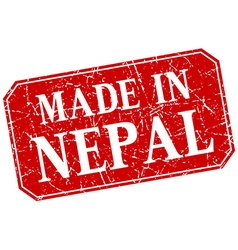 Made in nepal red square grunge stamp vector