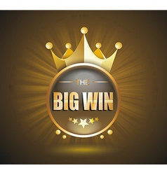 Big win gold sign for online casino poker roulette vector