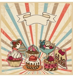 Background with of cake in retro style vintage vector