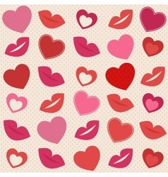 Background with hearts and lips vector image vector image