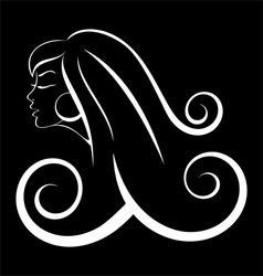 Black and white outline girl curly hair vector image vector image