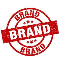 Brand round red grunge stamp vector