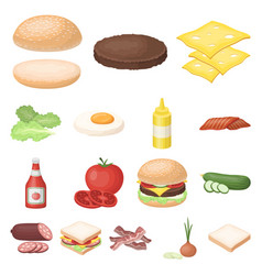 burger and ingredients cartoon icons in set vector image