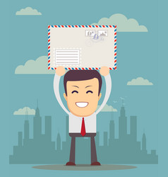 Business man holding envelope vector