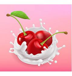 Cherry and milk splash Fruit and yogurt Realistic vector image