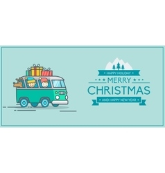 Christmas and New Year s greeting card vector image vector image