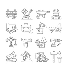 Construction icons or building thin line signs vector image