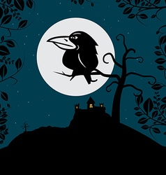 Crow on tree branch with full moon and spooky vector