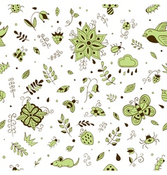 Cute hand drawn floral seamless summer forest vector image vector image