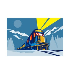 Diesel train locomotive retro winter scene vector